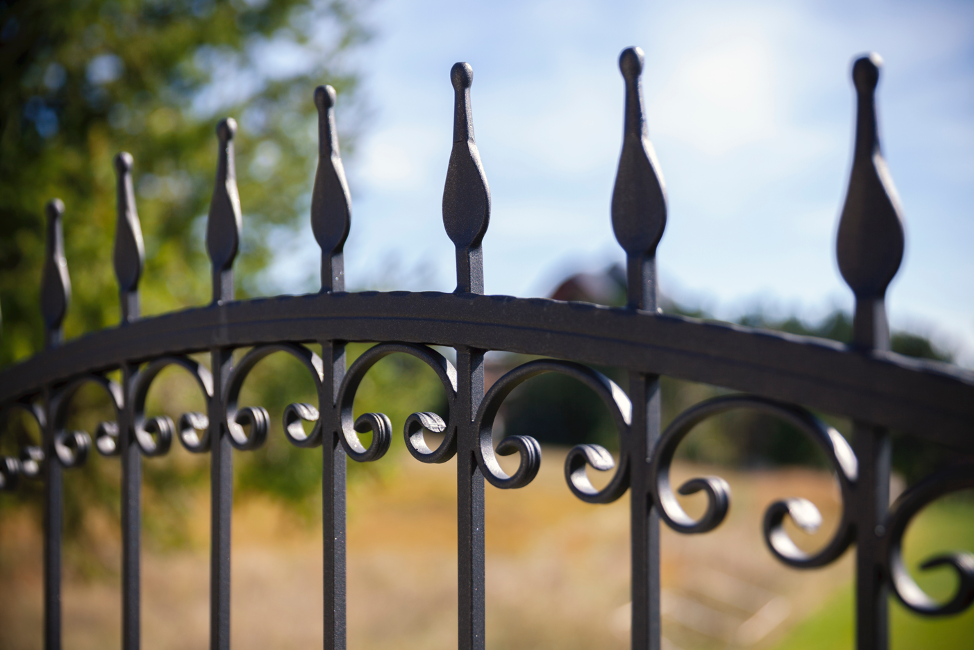 Wrought iron fence outside a house in Cary, Illinois