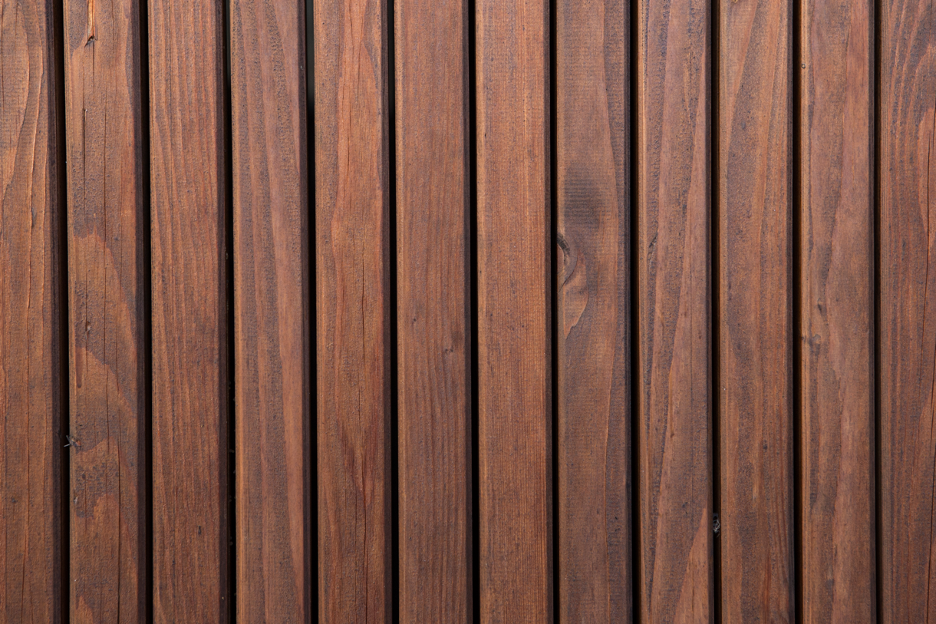 Stained wooden fence at a house in La Grange, Illinois