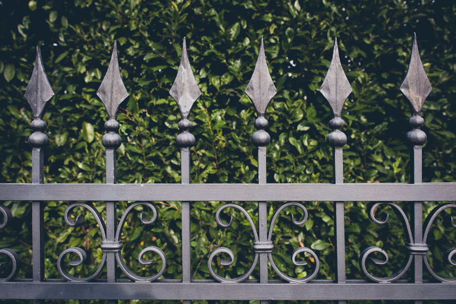 Decorative wrought iron fencing at a house in Cary, Illinois
