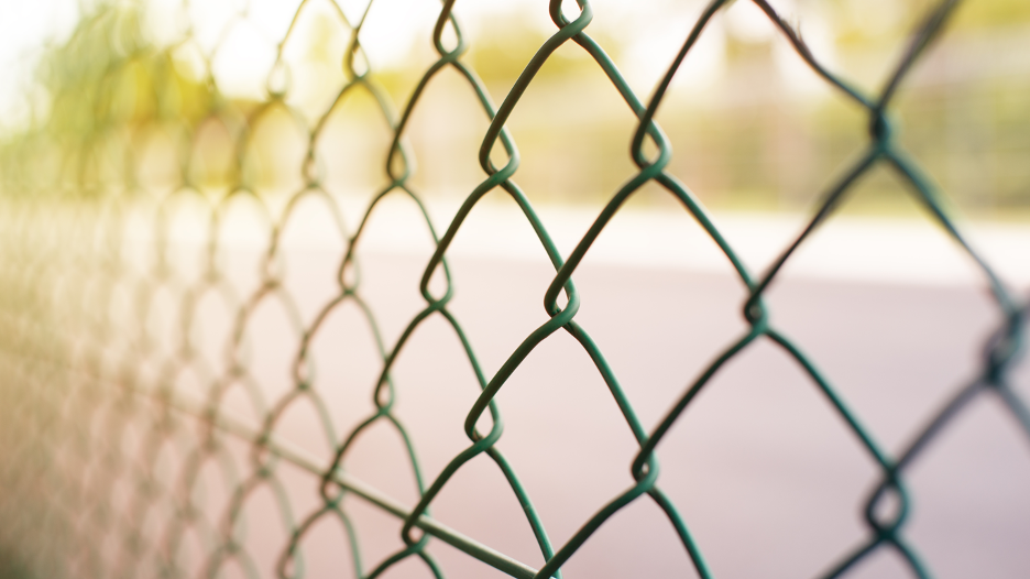 Chain link fence outside of a commercial property in Bannockburn, Illinois