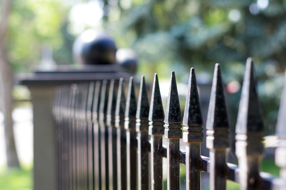 Wrought iron fence outside of a house in Deer Park, Illinois