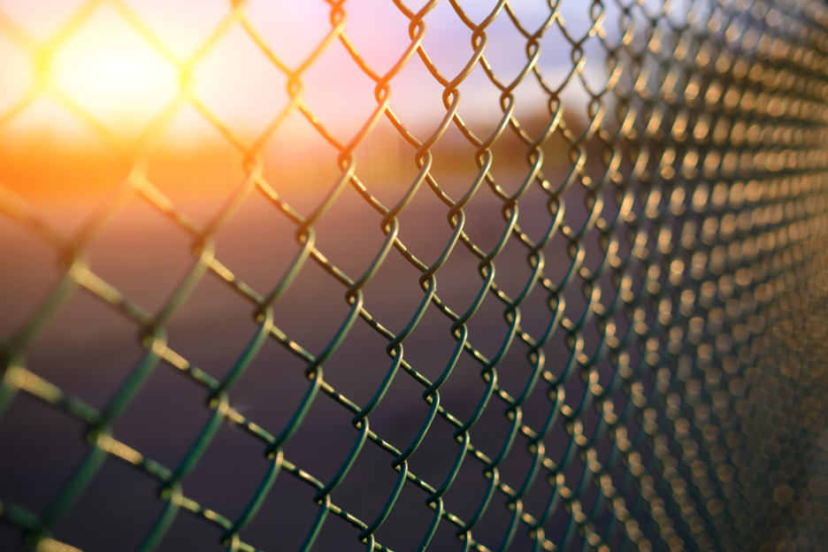 Chain link fence around a commercial property in Algonquin, Illinois