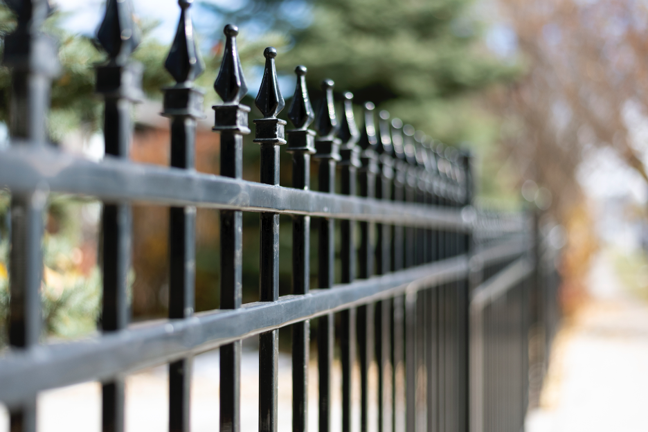 Wrought iron fence around a house in Winnetka, Illinois