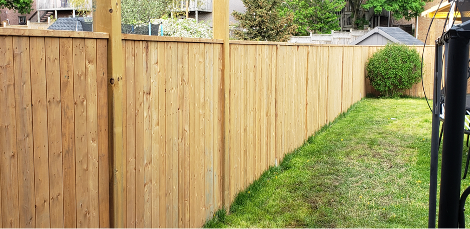 Residential wooden fence in the backyard of a house in Mundelein, Illinois