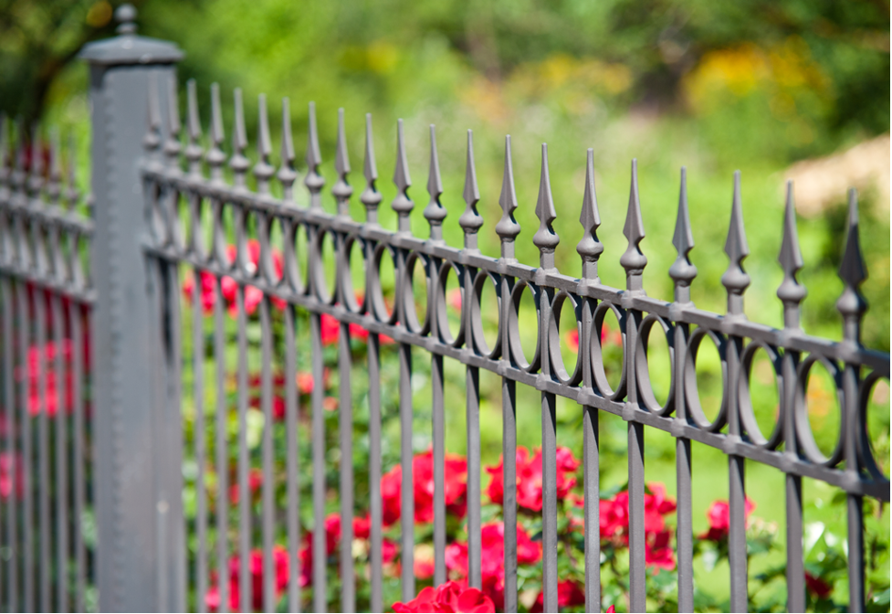 Wrought iron fence outside of a house in Northfield, Illinois