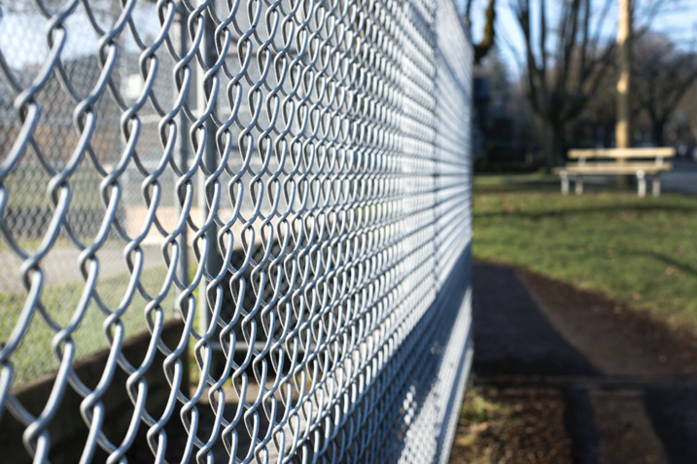Chain link fence at a commercial property in Wilmette, Illinois