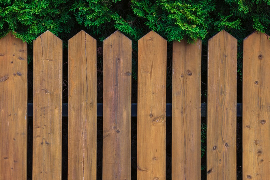Wood backyard fence at a house in Lake Zurich, Illinois