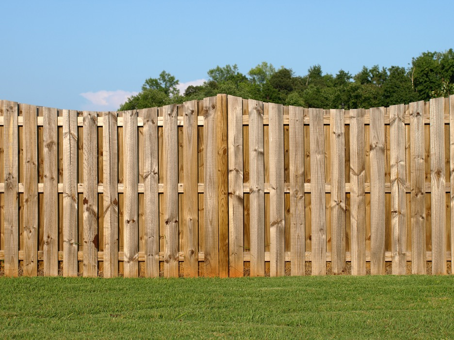 New wood fence outside of a house in Lake Bluff, Illinois